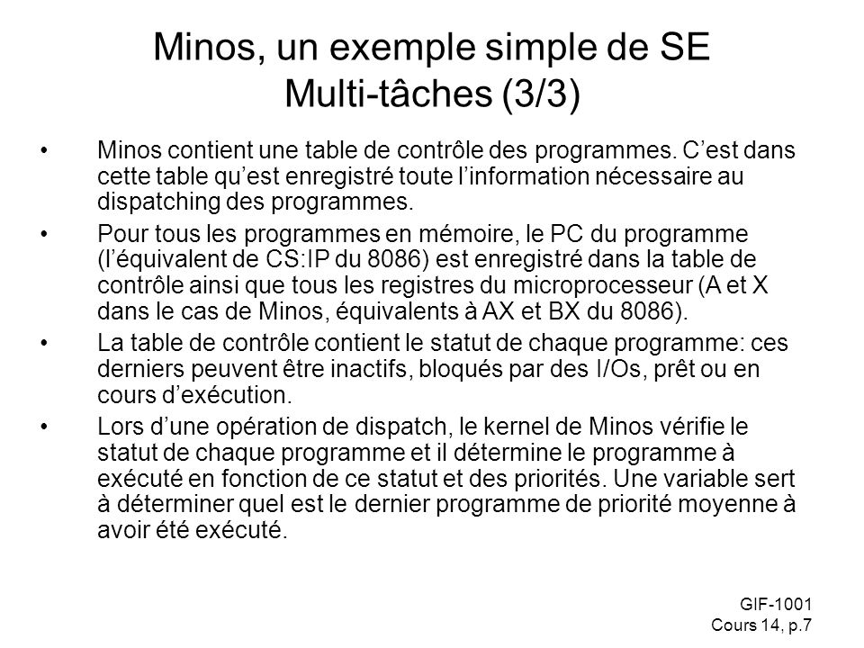 Minos, un exemple simple de SE Multi-tâches (3/3)