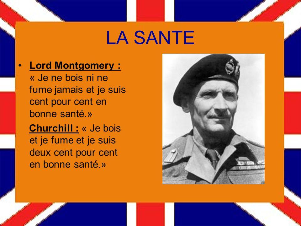 LA SANTE Lord Montgomery : « Je ne bois ni ne fume jamais et je suis cent pour cent en bonne santé.»