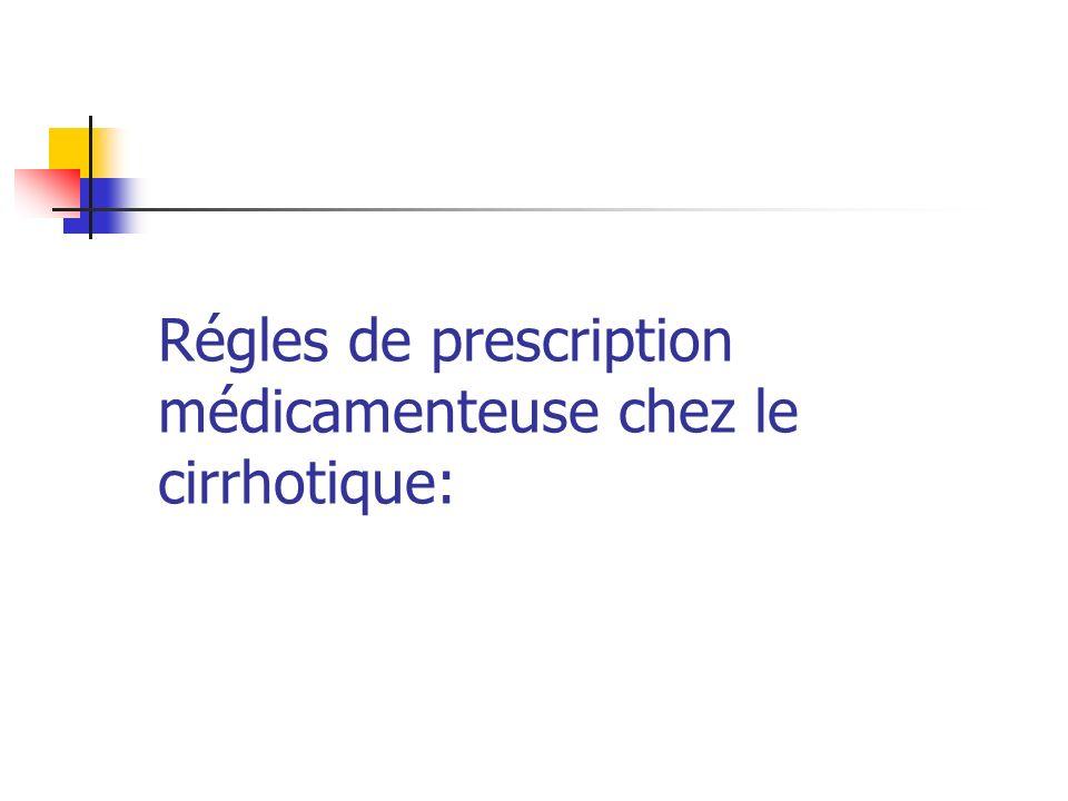 Régles de prescription médicamenteuse chez le cirrhotique: