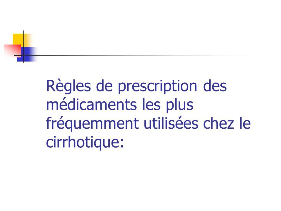 Règles de prescription des médicaments les plus fréquemment utilisées chez le cirrhotique: