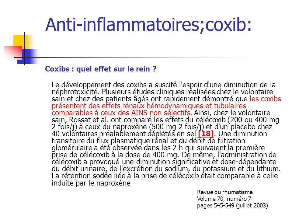 Anti-inflammatoires;coxib: