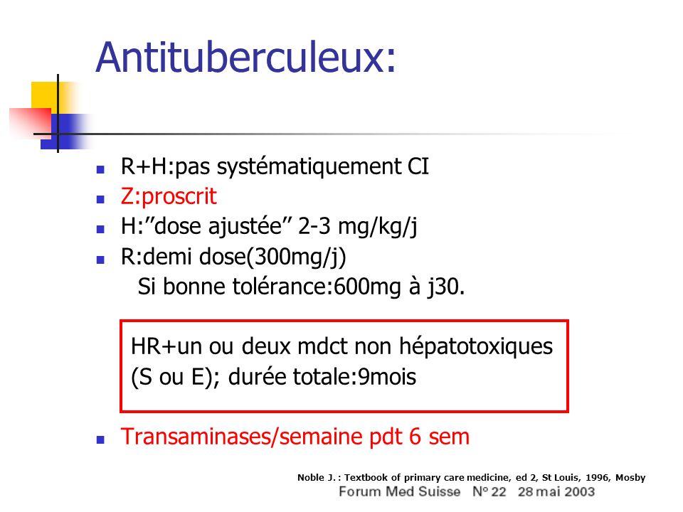 Antituberculeux: R+H:pas systématiquement CI Z:proscrit