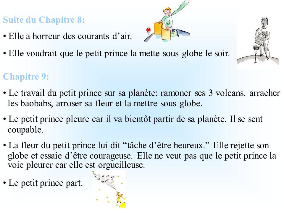 Suite du Chapitre 8: Elle a horreur des courants d'air. Elle voudrait que le petit prince la mette sous globe le soir.