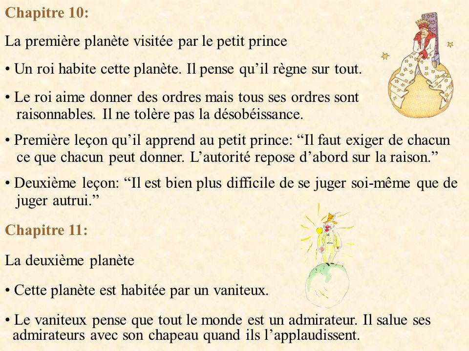 Chapitre 10: La première planète visitée par le petit prince. Un roi habite cette planète. Il pense qu'il règne sur tout.
