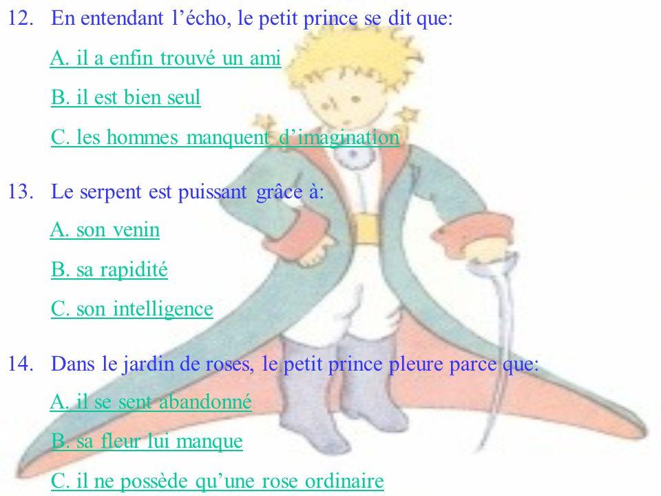 12. En entendant l'écho, le petit prince se dit que: