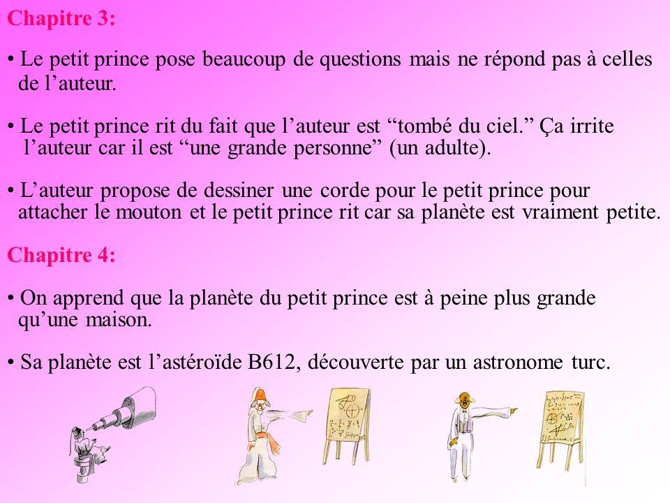 Chapitre 3: Le petit prince pose beaucoup de questions mais ne répond pas à celles. de l'auteur.