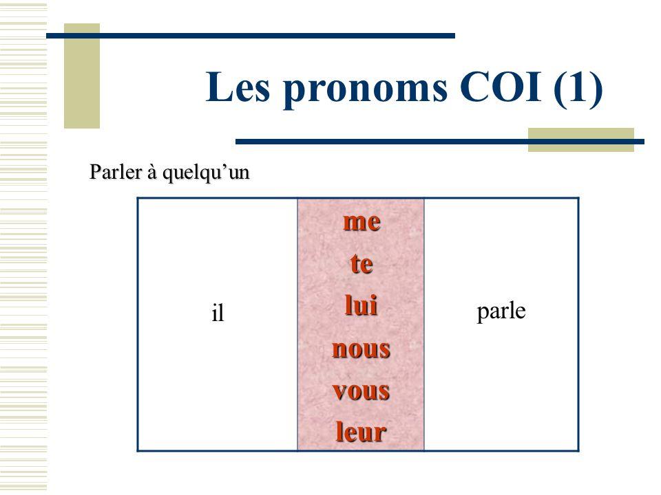 Les pronoms COI (1) me te lui nous vous leur parle il