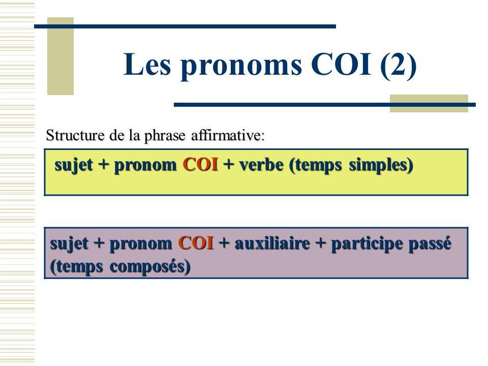 Les pronoms COI (2) sujet + pronom COI + verbe (temps simples)