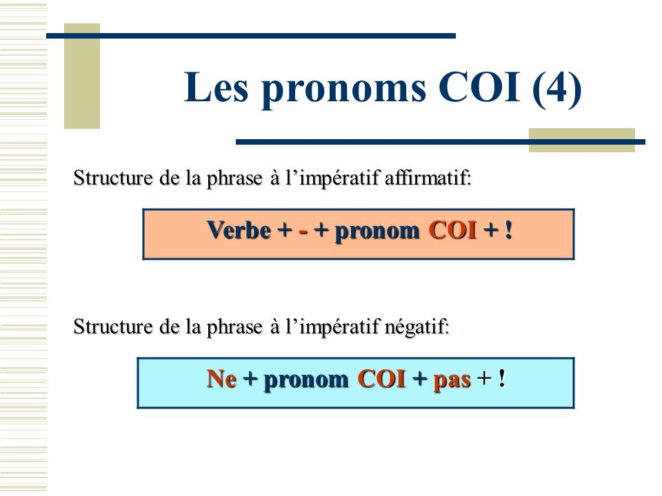 Les pronoms COI (4) Verbe + - + pronom COI + !