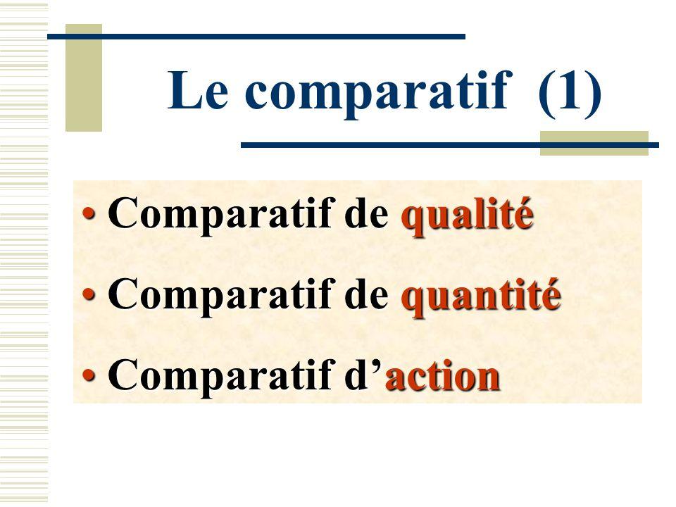 Le comparatif (1) Comparatif de qualité Comparatif de quantité