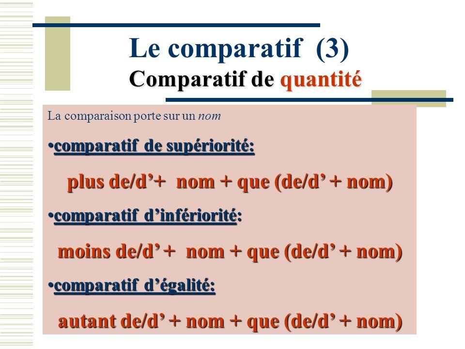 Le comparatif (3) Comparatif de quantité