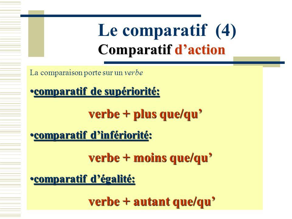 Le comparatif (4) Comparatif d'action