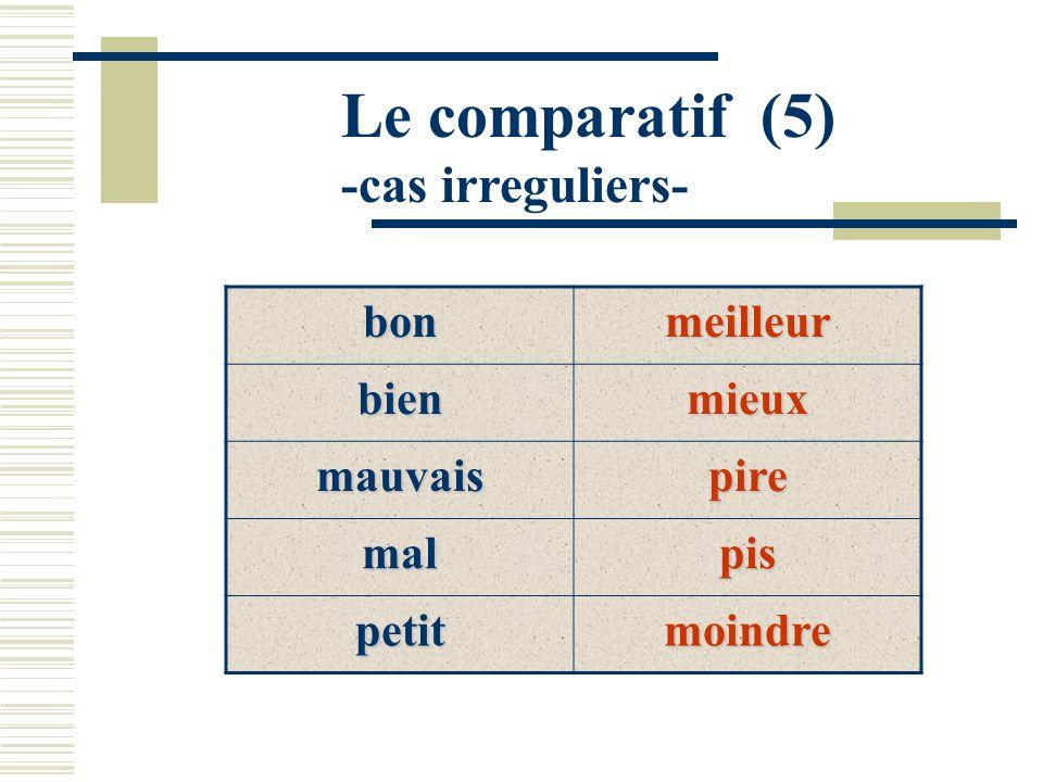 Le comparatif (5) -cas irreguliers- bon meilleur bien mieux mauvais