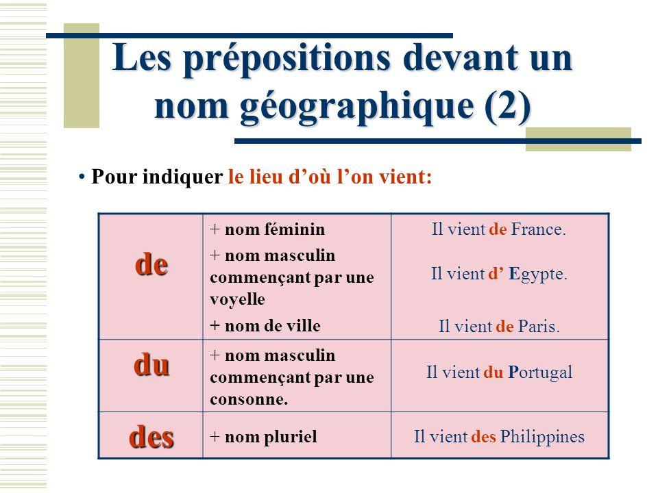 Les prépositions devant un nom géographique (2)