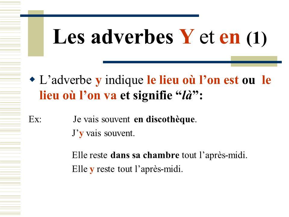Les adverbes Y et en (1)L'adverbe y indique le lieu où l'on est ou le lieu où l'on va et signifie là :