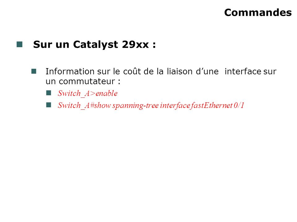 Commandes Sur un Catalyst 29xx :