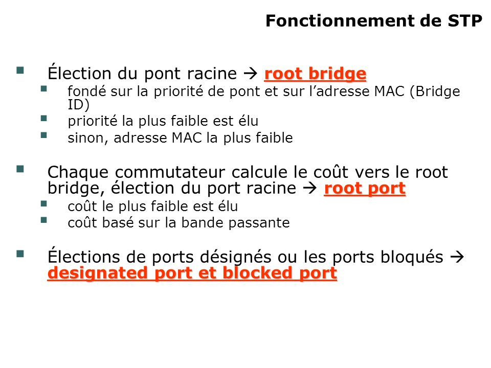 Élection du pont racine  root bridge
