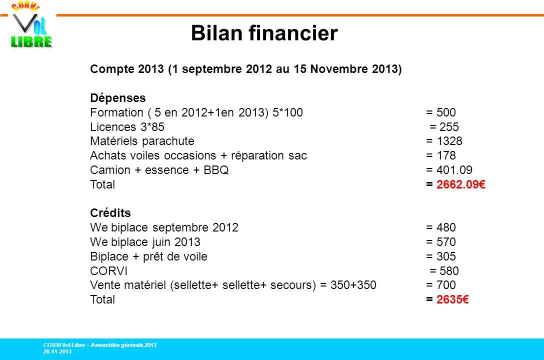 Bilan financier Compte 2013 (1 septembre 2012 au 15 Novembre 2013)