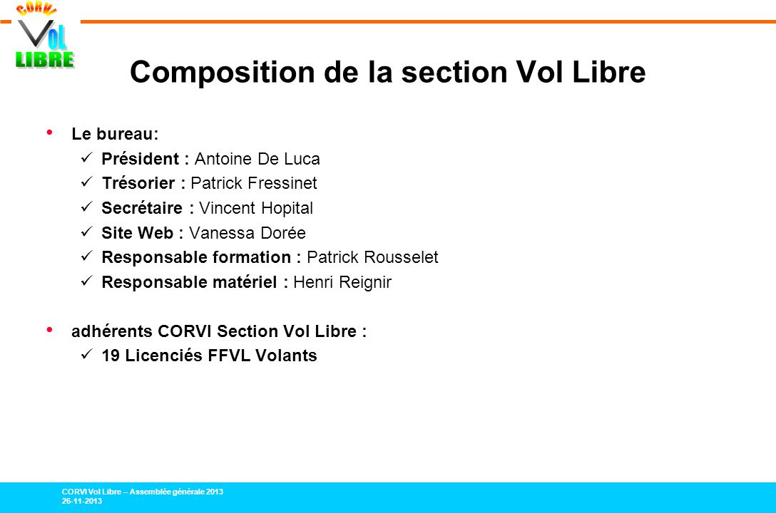 Composition de la section Vol Libre