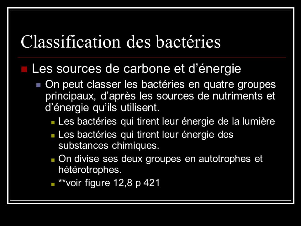 Classification des bactéries