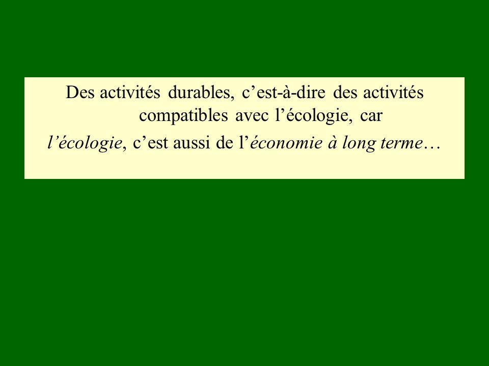 l'écologie, c'est aussi de l'économie à long terme…