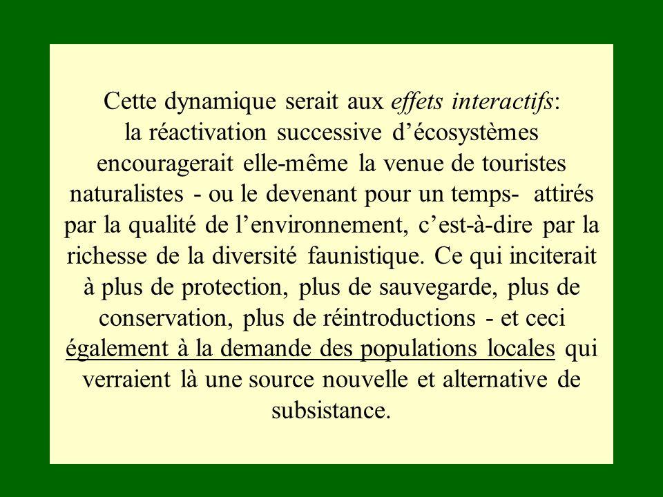 Cette dynamique serait aux effets interactifs: la réactivation successive d'écosystèmes encouragerait elle-même la venue de touristes naturalistes - ou le devenant pour un temps- attirés par la qualité de l'environnement, c'est-à-dire par la richesse de la diversité faunistique.