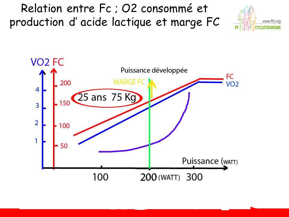Relation entre Fc ; O2 consommé et production d' acide lactique et marge FC