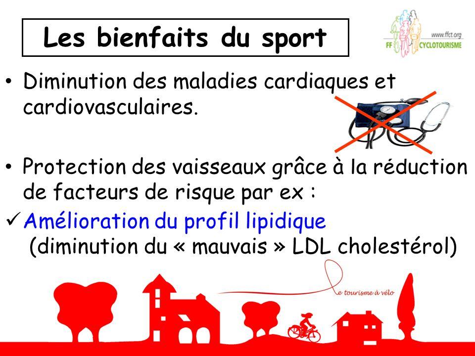 Les bienfaits du sport Diminution des maladies cardiaques et cardiovasculaires.