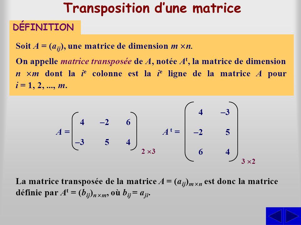 Transposition d'une matrice
