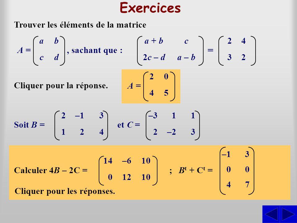 Exercices = Trouver les éléments de la matrice a + b 2c – d c a – b