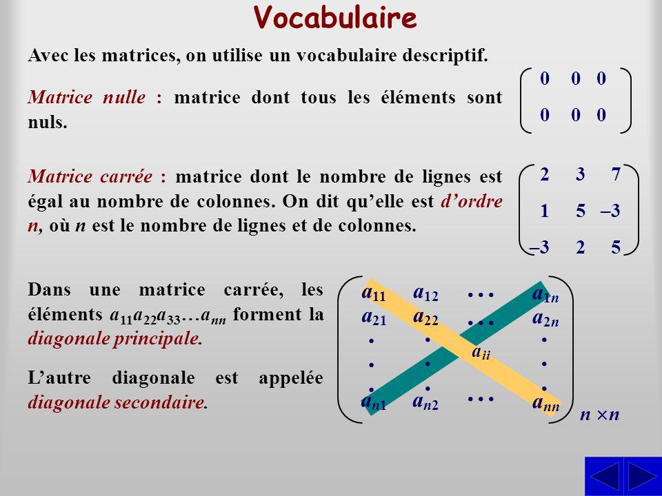 ... . Vocabulaire a11 a21 an1 a12 a22 an2 a1n a2n ann