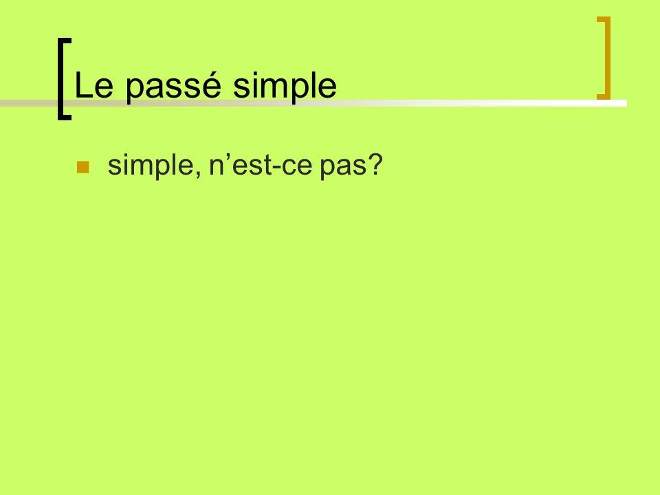 Le passé simple simple, n'est-ce pas