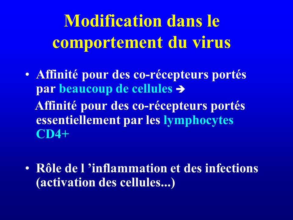 Modification dans le comportement du virus
