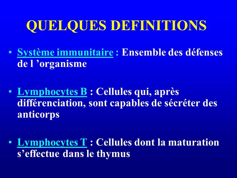 QUELQUES DEFINITIONS Système immunitaire : Ensemble des défenses de l 'organisme.