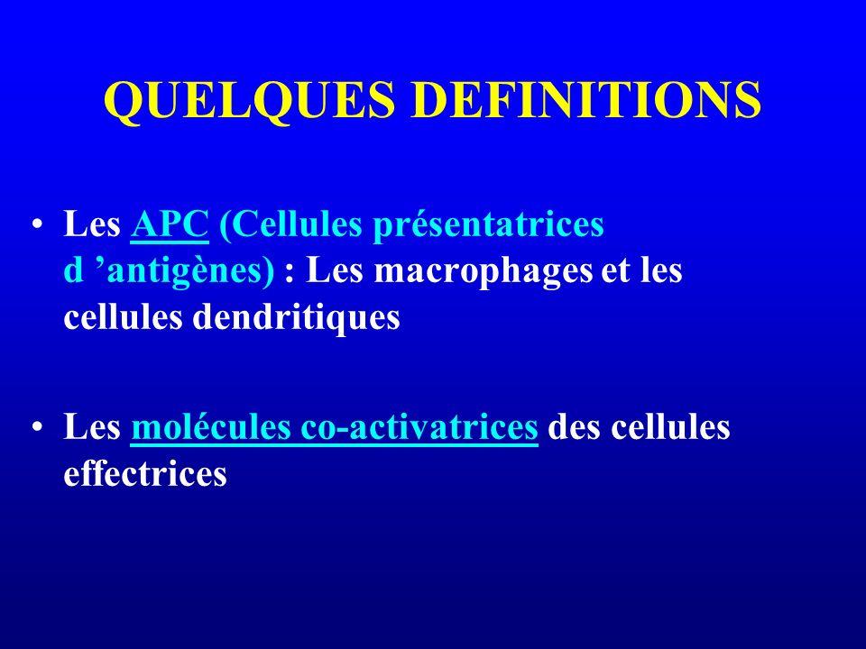 QUELQUES DEFINITIONS Les APC (Cellules présentatrices d 'antigènes) : Les macrophages et les cellules dendritiques.