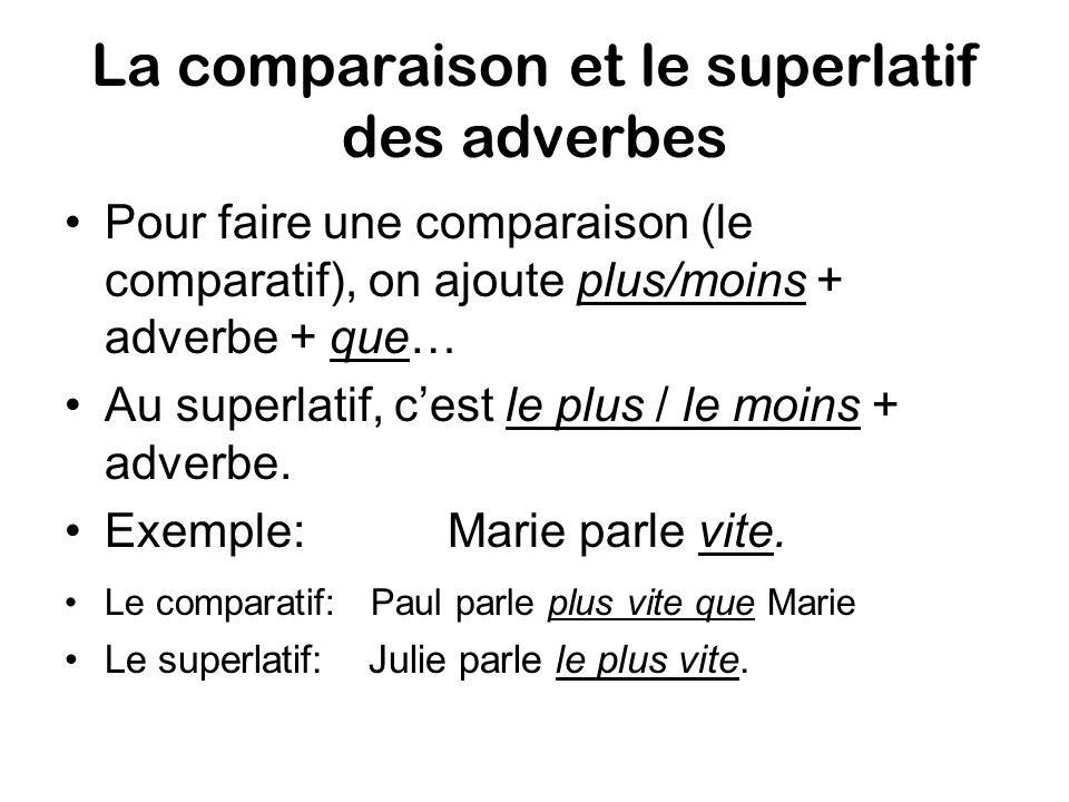 La comparaison et le superlatif des adverbes