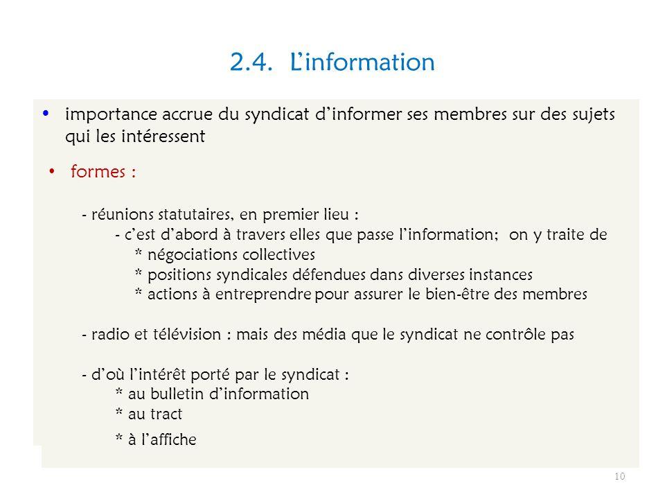 2.4. L'informationimportance accrue du syndicat d'informer ses membres sur des sujets qui les intéressent.