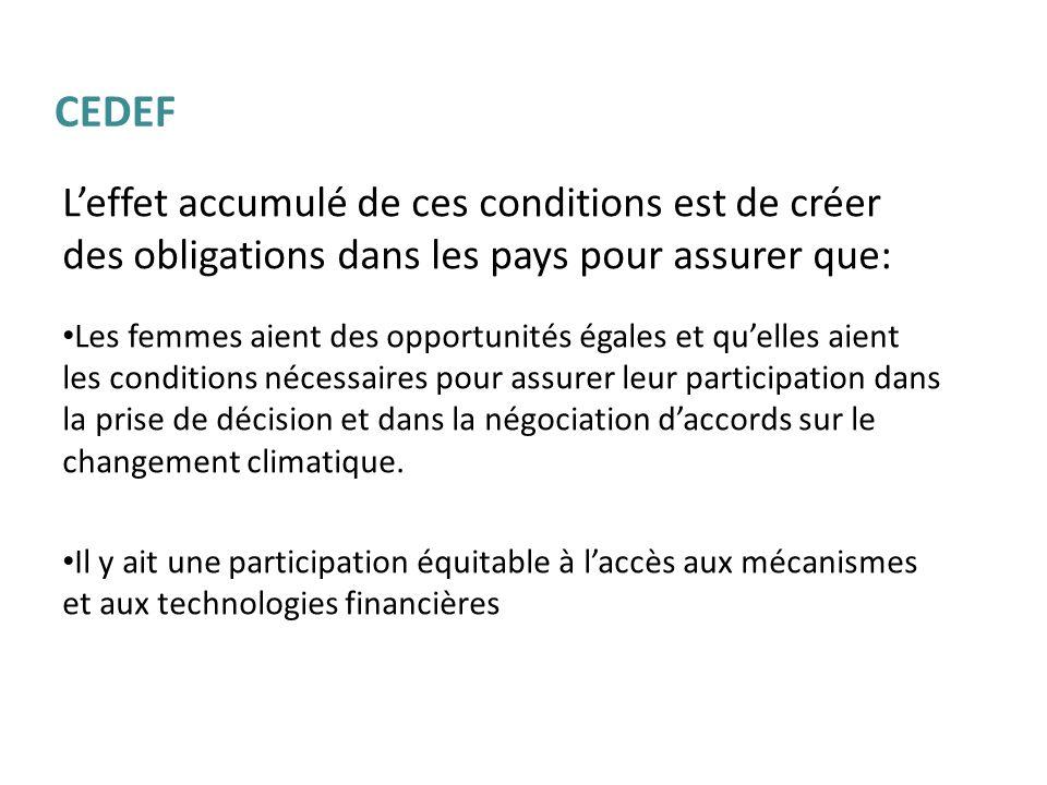 CEDEF L'effet accumulé de ces conditions est de créer des obligations dans les pays pour assurer que: