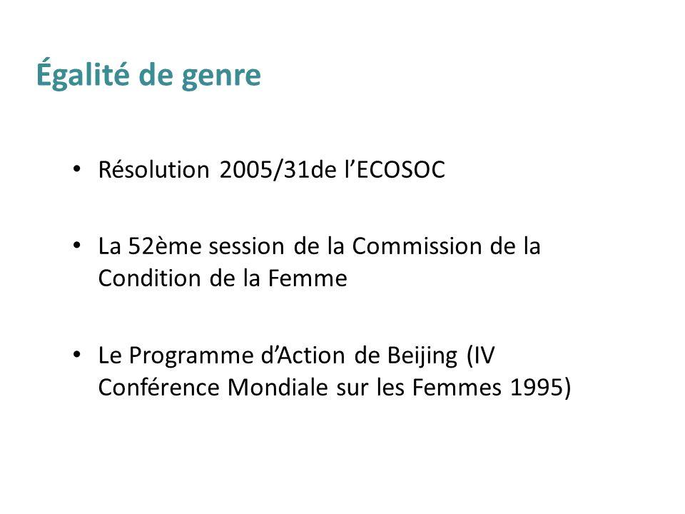 Égalité de genre Résolution 2005/31de l'ECOSOC