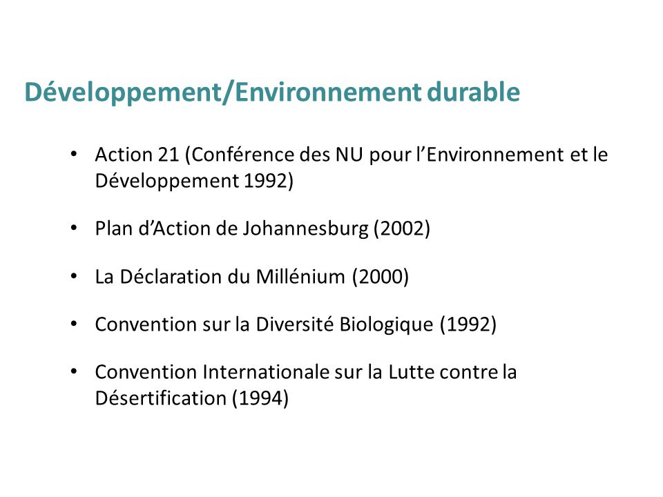 Développement/Environnement durable