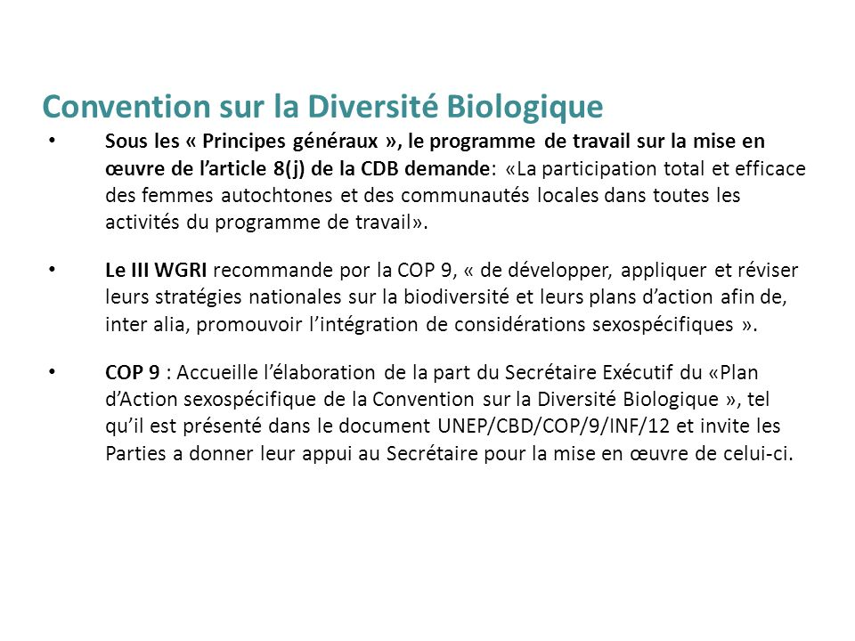 Convention sur la Diversité Biologique