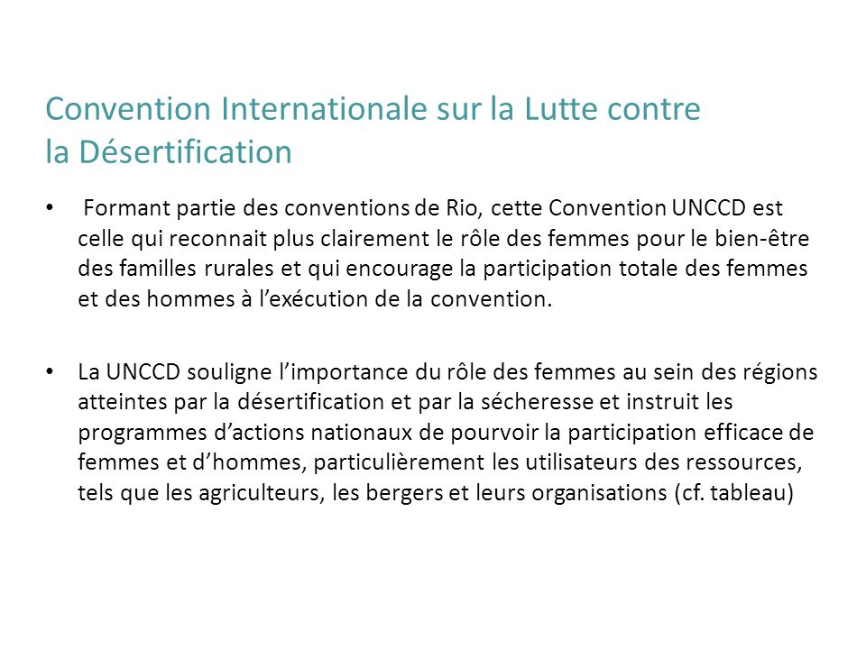 Convention Internationale sur la Lutte contre la Désertification