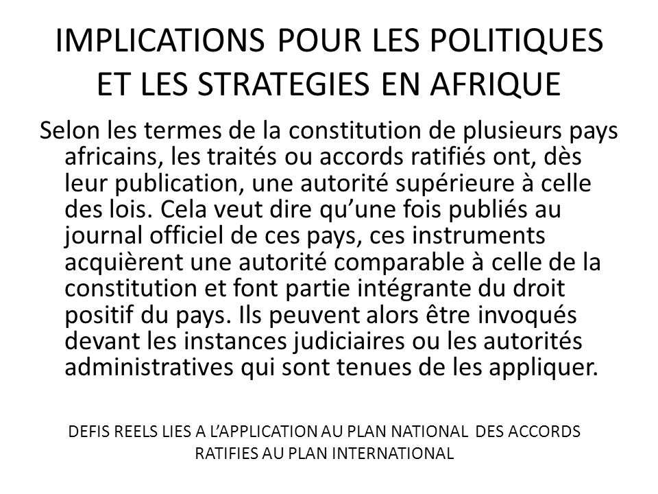 IMPLICATIONS POUR LES POLITIQUES ET LES STRATEGIES EN AFRIQUE