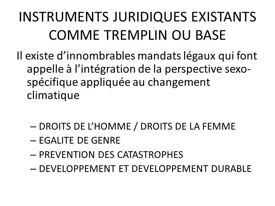 INSTRUMENTS JURIDIQUES EXISTANTS COMME TREMPLIN OU BASE
