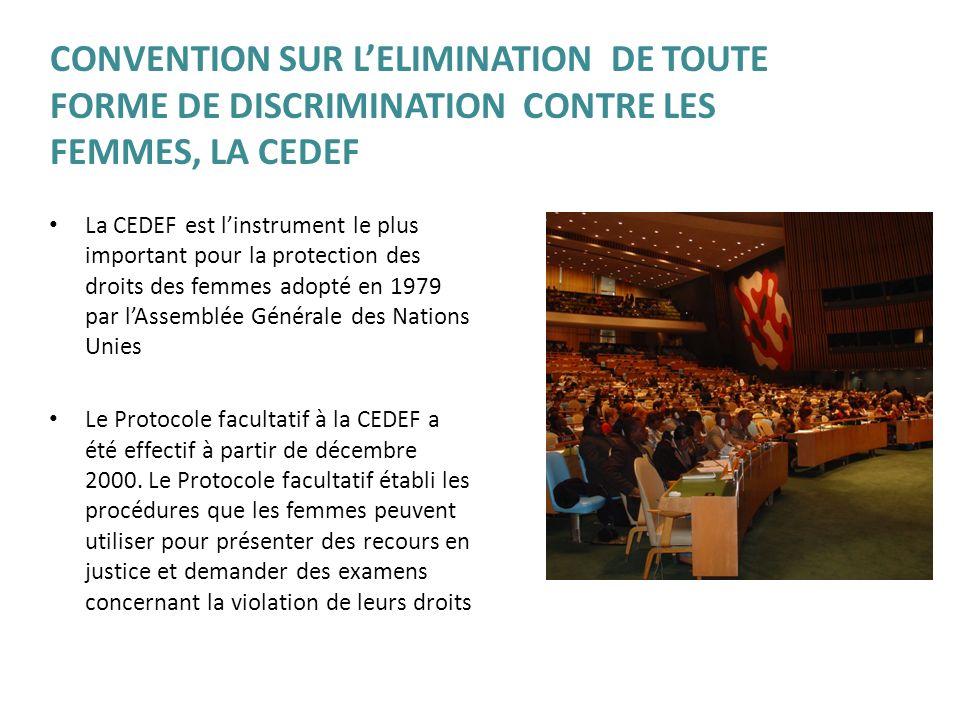 CONVENTION SUR L'ELIMINATION DE TOUTE FORME DE DISCRIMINATION CONTRE LES FEMMES, LA CEDEF