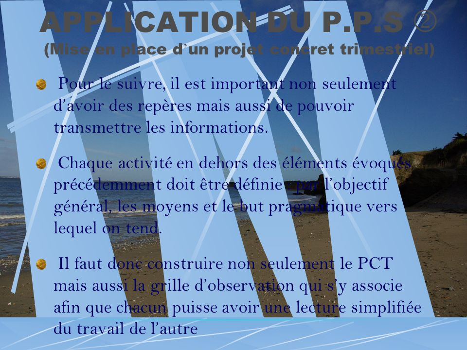 APPLICATION DU P.P.S  (Mise en place d'un projet concret trimestriel)