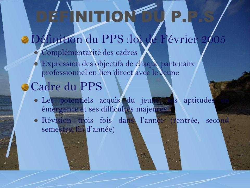 DEFINITION DU P.P.S Définition du PPS :loi de Février 2005