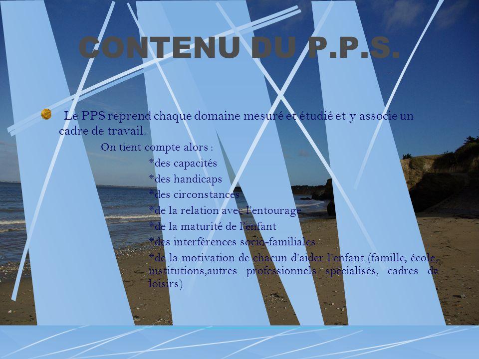 CONTENU DU P.P.S. Le PPS reprend chaque domaine mesuré et étudié et y associe un cadre de travail. On tient compte alors :