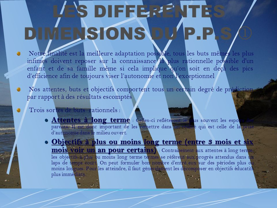 LES DIFFERENTES DIMENSIONS DU P.P.S 