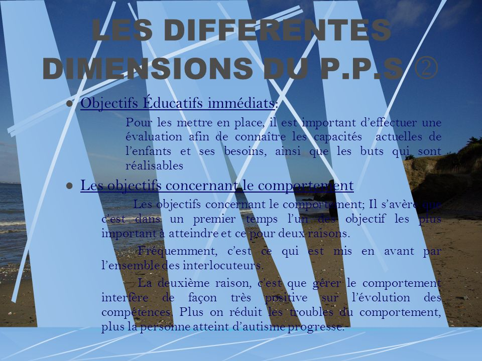 LES DIFFERENTES DIMENSIONS DU P.P.S 